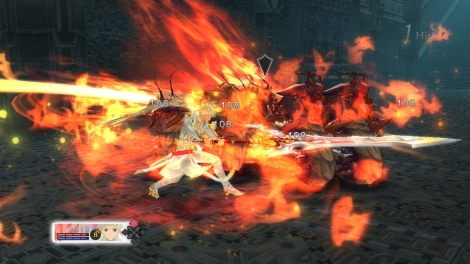 Fusing with Lailah grants a giant sword and fire attacks.